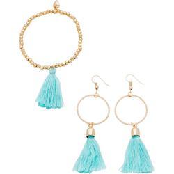 Set Ohrhänger mit Armband in gold für Damen von bonprix