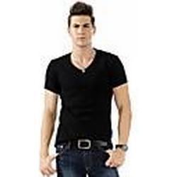 Herrenmode V-Ausschnitt Pure Color T-Shirt