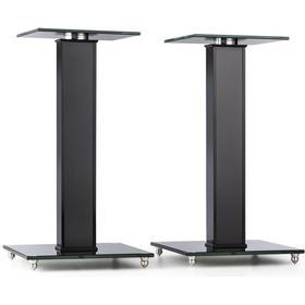 auna BS-03S-BK högtalar-stativ aluminium glas MDF kabelkanal inkl. spikes