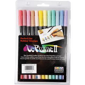 Marvy Uchida Le Plume 2 Pastels Markers 12-pack