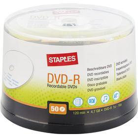 Staples Skrivbar, tom DVD+R 4,7 GB/120 min, 16 X hastighet, 50 skivspindel