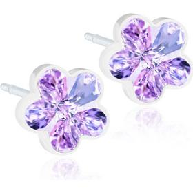 Blomdahl Flower Pure Medical Plastic Earrings w. Violet Swarovski Crystals - 0.6