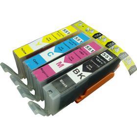 Canon CLI 551 bundle 4 stk (1 stk. Sort / cyan/ magenta / gul 12 ml) kompatibel