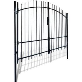 vidaXL Double Door Fence Gate with Spear Top 300x225cm
