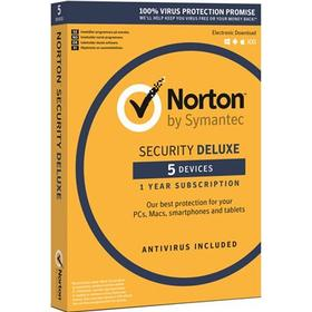 Symantec Norton Security Deluxe 3.0 Nordic 1 år 1-Användare 5-Enheter Box