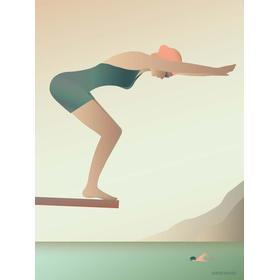 Vissevasse Svømmeren 15x21cm Plakater