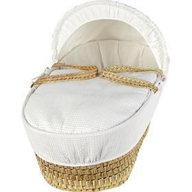 Clair De Lune Soft Cotton Waffle Palm Moses Basket