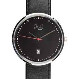 J&M Silver Unisex ur med rød sekund og sort læderrem*, TQSL14568G11*