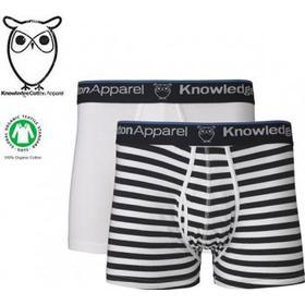 Knowledge Cotton Apparel, Kalsonger 2-pack, vita & blå/vit randiga (Small)