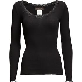 Rosemunde Silk T-Shirt Regular LS W/Rev Vinta - Black