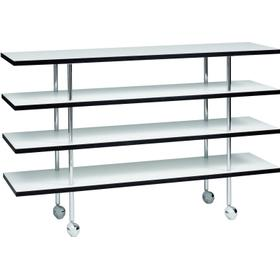 Etagebord sideboard, vit laminat, svart kant