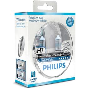 Philips White Vision H7 pære +60% mere lys (2 stk) + 2stk. W5W