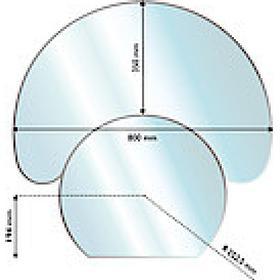 Aduro Glass Floor Hearth Halfmoon 6mm 35X80cm