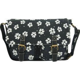 Anna Smith Flower Print Messenger Bag Black -