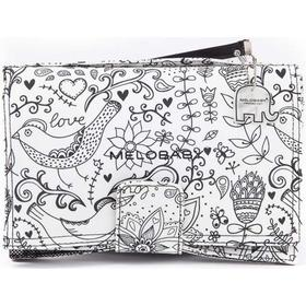Melobaby Deluxe Nappy Wallet & Change Mat - LOVE Black & White