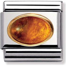 Nomination Classic Amber Stainless Steel/Gold Charm w. Brown Amber - 0.8cm (030502/01)