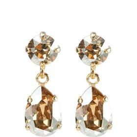 Caroline Svedbom Mini Drop Golden Shadow Brass Gold Plated Earrings w. Swarovski Crystals - 3.5cm (C-GSHA)