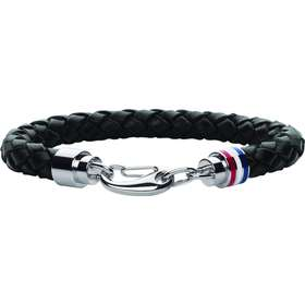 Tommy Hilfiger Mens Casual Black Leather Bracelet - 20.5cm (2700510) 7f9f43b0c6024