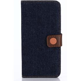 Apple iPhone X/XS PU læder Premium Flipcover m. Jeanslook - Sort