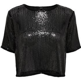 Only Sequins Short Sleeved Top Black/Black