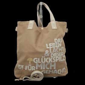 Handtaschen - Adelheid - Glückspilz m. Spruch - taupe