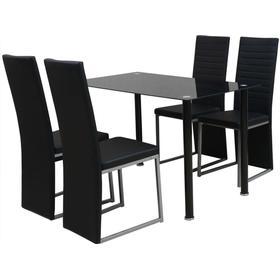 vidaXL Matbord och stolar 5 delar svart