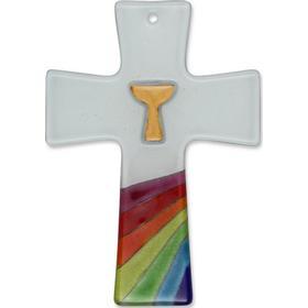 Glaskreuz zur Taufe weiß