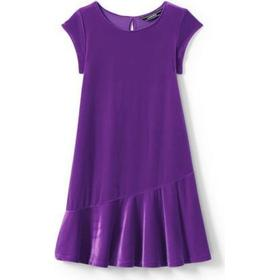 Lands End Cap Sleeve Velveteen Dress - Purple (490475)