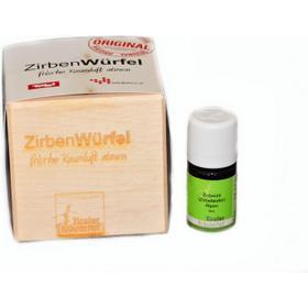 Original Zirbenwürfel mit Zirbenspänen und hochwertigem ätherischem Zirbenöl (10ml)