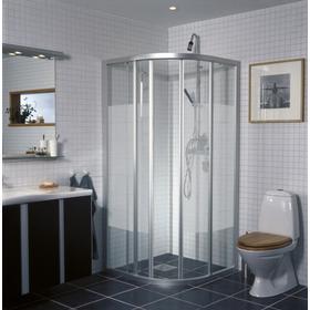Ifö Solid duschvägg SVR 90x90, screentryckt glas & vita profiler