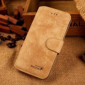 iPhone 6/6S - Golden Phoenix Ægte Læder Cover - Khaki
