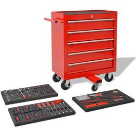 vidaXL Verktygsvagn med 269 verktyg stål röd