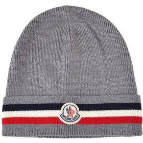 Moncler Striped Wool and Cashmere Blend Beanie Grey (1212550)