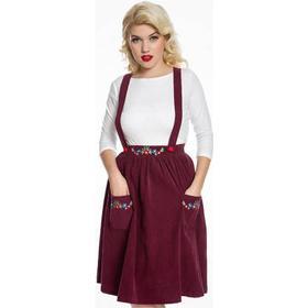 'Nesta' Burgundy Corduroy Floral Embroidered Dungaree Skirt