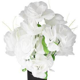 Kunstige hvide roser - Stor buket med 23 blomster
