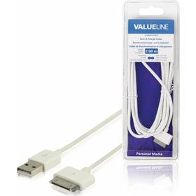 Valueline &Sync/Ladekabel für iPad/iPhone/Apple iPod 30 pin, USB 2.0 A Stecker, 2 m, Weiß