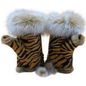 Eksklusive vanter tiger print med kaninpels.