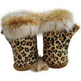 Eksklusive vanter leopard med kaninpels.