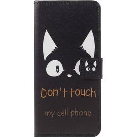 Samsung Galaxy A8 (2018) PU læder Flipcover m. Kortholder - Don't Touch - Cat