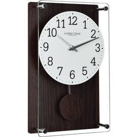London Clock Company Wood Effect Pendulum Wall Clock - Dark Brown