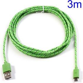 Micro USB Stof Oplade- og Datakabel - 3 meter Grøn