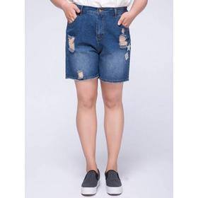 Stylish Plus Size High Waist Ripped Appliqued Women's Shorts - Blue Xl