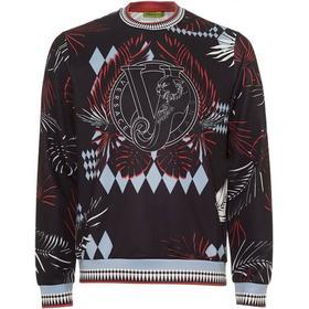 Versace Jeans Mens Palm Tree Print Sweatshirt, Neoprene Black Sweat
