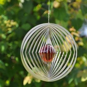 Vindspel - Cirkel/diamant, 50 mm röd kula