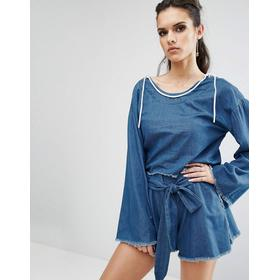Kendall Kylie Frayed Chambray Pullover Top