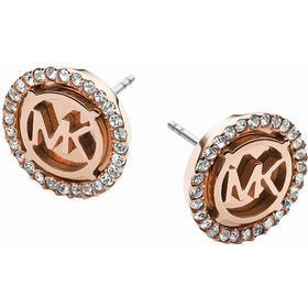 Michael Kors Logo Stainless Steel Rose Gold Plated Earrings w. Czech Glass (MKJ2942)