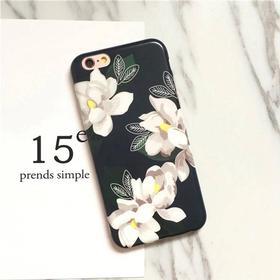 Iphone 6 & 6s Sort cover med hvid blomst til iPhone 6/6S