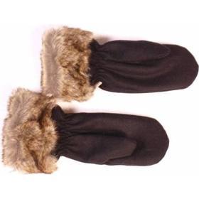 Vanter / luffer i uld med fake pels, Tilbud, sort