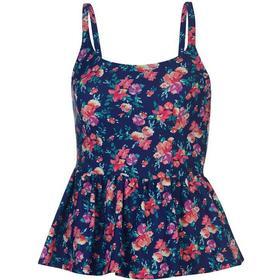 SoulCal Peplum Tankini Top Navy Floral