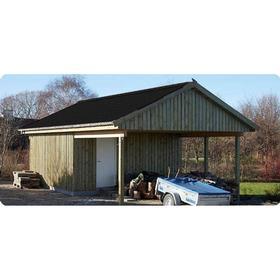 Carport dobbelt 6,00x7,80m cp02hur med redskabsrum 2,10x5,10m
